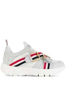 Thom Browne Nubuck Leather Raised Running Shoes - White