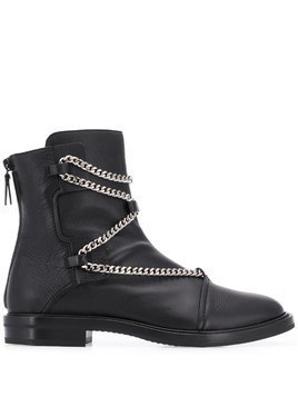 Casadei Zoe chain-embellished ankle boots - Black