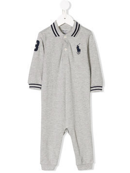 Ralph Lauren Kids embroidered logo polo romper - Grey