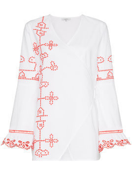 Ganni peony embroidered tunic top - White