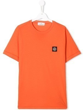 Stone Island Junior TEEN logo patch T-shirt - Orange