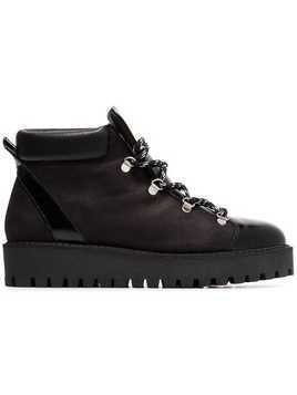 Ganni black alma shearling lined leather hiking boots