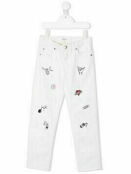 Bonpoint Dewey embroidered jeans - White