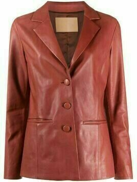 Drome notched collar leather jacket - Red