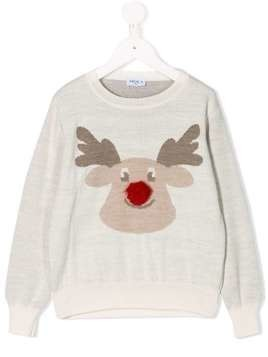 Siola Reindeer knit jumper - White