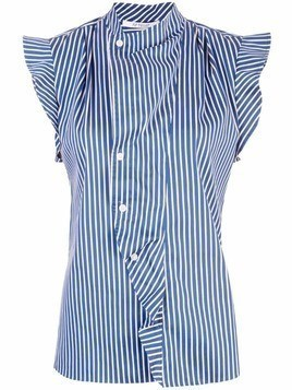 Derek Lam 10 Crosby Short Sleeve Striped Draped Blouse with Asymmetrical Placket - Blue