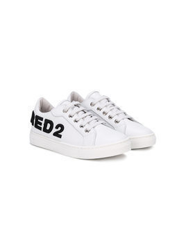 Dsquared2 Kids - logo embroidered low top sneakers - Kinder - Leather/rubber - 28 - White