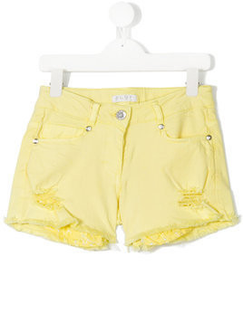 Elsy distressed detail denim shorts - Yellow