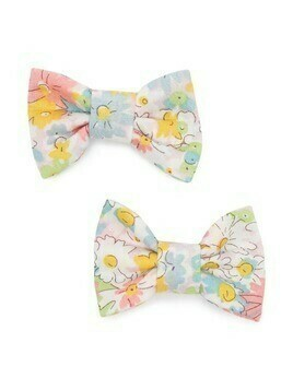Bonpoint floral-print bow hair clips - White