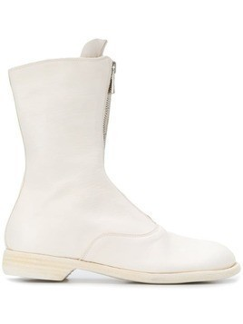 Guidi zip front ankle boots - White