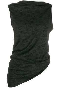 Rick Owens Lilies sleeveless draped vest top - Black