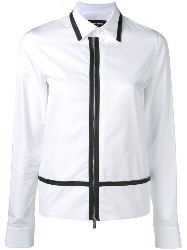 Dsquared2 zip trim shirt - White