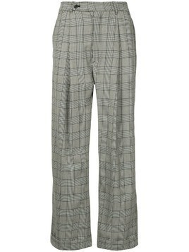 Hed Mayner check wide leg trousers - Black