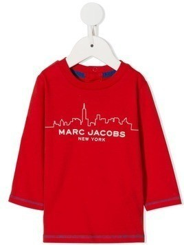 Little Marc Jacobs skyline logo print T-shirt - Red