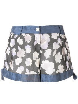 Giorgio Armani Pre-Owned side ties floral shorts - Blue