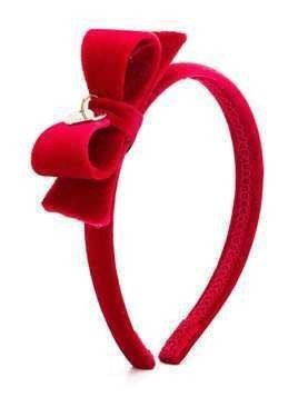 Monnalisa bow and heart charm head band - Red