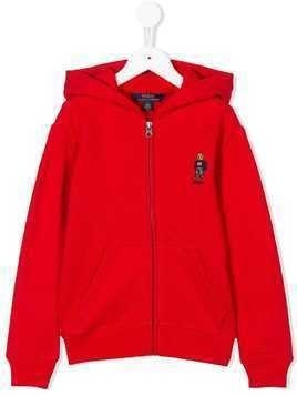 Ralph Lauren Kids bear hooded jacket - Red