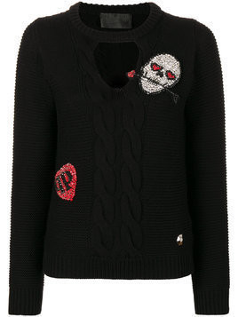 Philipp Plein Holfan cable knit jumper - Black
