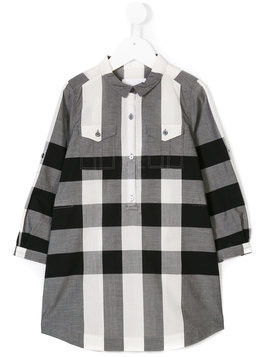 Burberry Kids checked long sleeve dress - Grey