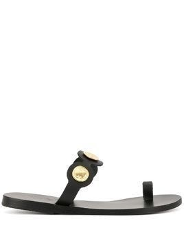 Ancient Greek Sandals Evelina coin-detail sandals - Black