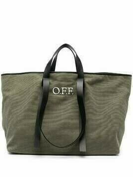 Off-White logo-print tote bag - Green