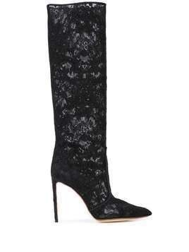 Francesco Russo lace knee-high boots - Black