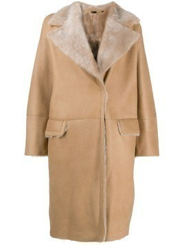 Manzoni 24 shearling button up coat - Brown