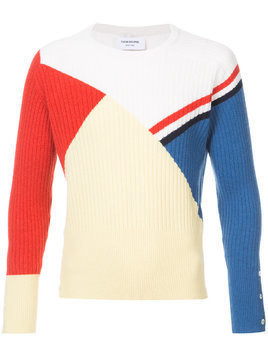 Thom Browne Crewneck Pullover With Red, White And Blue Stripe And Colorblocking In Cashmere - Yellow & Orange
