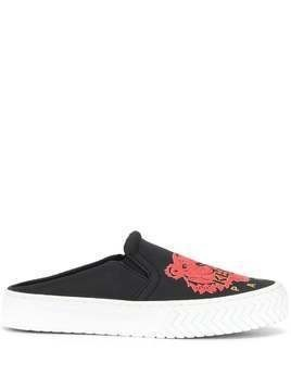 Kenzo tiger-motif slip-on sneakers - Black