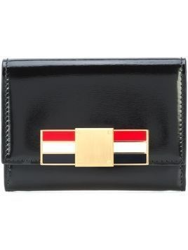 Thom Browne Card Holder With Red, White And Blue Enamel Metal Bow Clasp In Calf Leather - Black
