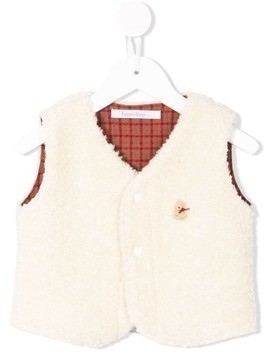Familiar reversible faux-shearling vest - White