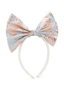 Hucklebones London metallic flower embroidered bow hairband - Blue