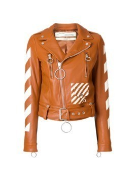 Off-White diagonals print biker jacket - Brown