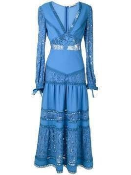 Martha Medeiros Yana lace mid-lenght dress - Blue