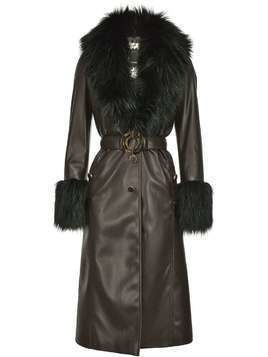 Pinko fur-panelled faux leather coat - Black