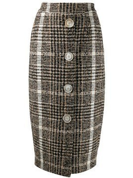 Carmen March checked pencil skirt - Neutrals