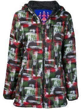 Moose Knuckles abstract art print puffer jacket - Green