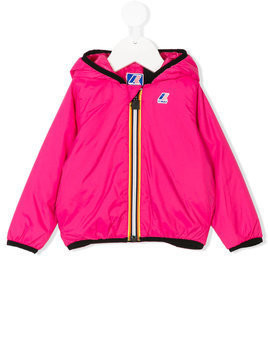K Way Kids striped trim hooded jacket - Pink & Purple