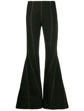 Mugler topstitch flared trousers - Black