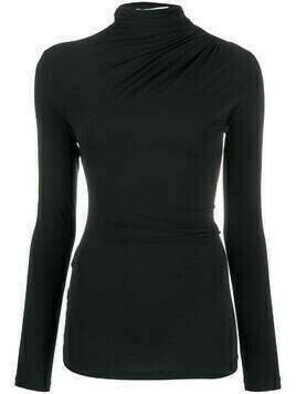 Ssheena gathered long sleeved T-shirt - Black