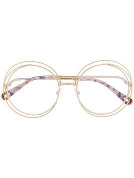 Chloé Eyewear wire detail round frame glasses - Brown