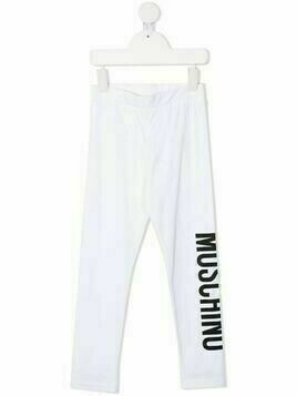 Moschino Kids logo-print leggings - White