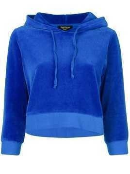 Juicy Couture Swarovski Personalisable Velour Hooded Pullover - Blue
