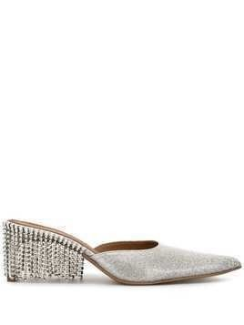 Area pointed embellished pumps - SILVER