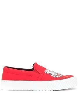 Kenzo tiger-motif slip-on sneakers - Red