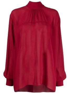 Rochas oversized sheer blouse - Red