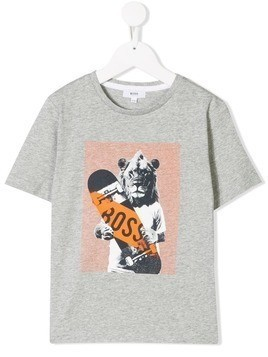 Boss Kids lion print T-shirt - Grey