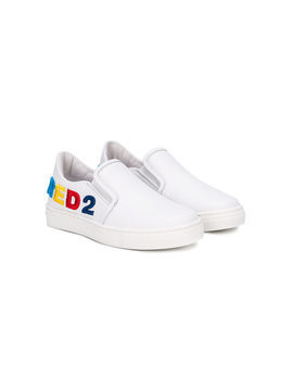 Dsquared2 Kids - logo embroidered slip-on sneakers - Kinder - Leather/rubber - 35 - White