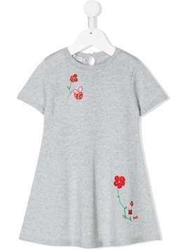 Baby Dior floral embroidered dress - Grey