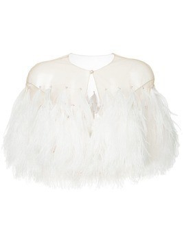 Isabel Sanchis illusion tulle feather capelet - Neutrals